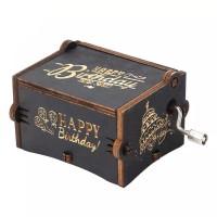 Kotak Musik Happy Birthday Wooden Music Box Vintage - Hbd Hitam