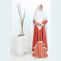 gamis ranmum orange syari jumbo baju muslim pesta mewah ceruti ran mt