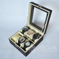 Brown Cream Kotak Jam Tangan Isi 6 / Tempat Jam / Box Jam / Watch Box