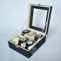 Black Cream Kotak Jam Tangan Isi 6 / Tempat Jam / Box Jam / Watch Box