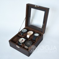 Dark Brown Kotak Jam Tangan Isi 6 / Tempat Jam / Box Jam / Watch Box