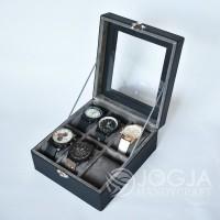 Black Grey Kotak Jam Tangan Isi 6 / Tempat Jam / Box Jam / Watch Box
