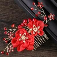 sirkam bunga merah aksesoris rambut pesta qss51