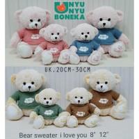 boneka teddy bear 30cm sweater love you kado souvenir baby beruang