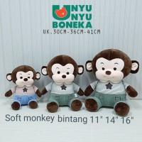 boneka soft Monkey monyet t-shirt 41cm animal kado souvenir baby kids
