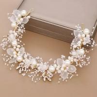 hairpiece bunga mutiara putih aksesoris rambut qsbm003