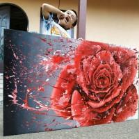 Jual Lukisan Bunga Mawar Abstrak Kota Pontianak Fitriyana Ulfa Tokopedia