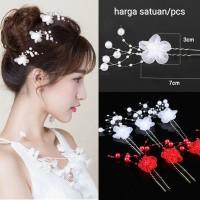 hairpin bunga Pearl aksesoris tusuk rambut