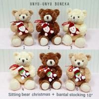 boneka teddy bear 25cm natal merry chrismast snowman santa souvenir