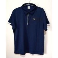 Wilson Original Kaos Polo Shirt Pria Baju Tennis Baju Golf Biru Navy