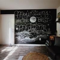 Laeacco Blackboard Chalk Sofa Room Wooden Floor Child Portrait