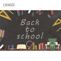 Laeacco Blackboard Cartoon Pattern Back to School Photography