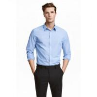 H M Men Slim Fit Blue Shirt - Kemeja Pria Lengan Panjang Biru Branded