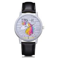 Jam Tangan Desain Unicorn Gaya Eropa Amerika Strap Kulit untuk Wanita