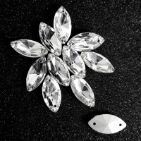 Crystal Payet Jahit Austria Navette 9x18mm - Clear Kristal