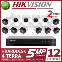 PAKET CCTV HIKVISION 5MP 16 CHANNEL 12CAMERA HDD 4TB