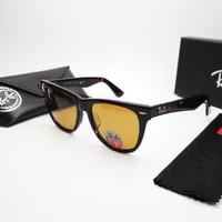 Kacamata Rb Wayfarer glossy lensa kaca coklat polarized size 54