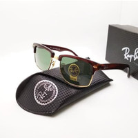Kacamata Rb Clubmaster Square 4190 coklat lensa kaca hijau botol
