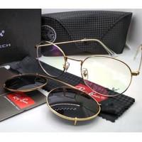 Kacamata Rb clip on 3520 gold lensa bening & hitam polarized