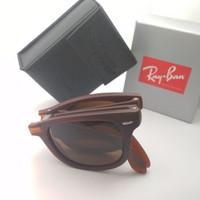 Kacamata Rb Wayfarer Folding coklat doff lensa kaca full set