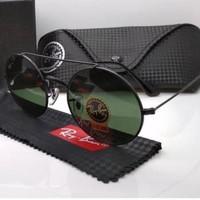 Kacamata Rb 8347 palang frame hitam lensa kaca hijau botol Kacamata