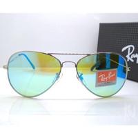 Kacamata Rb Aviator Flash 3026 frame silver lensa kaca hijau muda