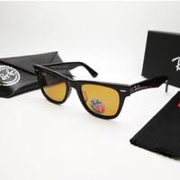Kacamata Rb Wayfarer glossy lensa kaca coklat polarized Kacamata