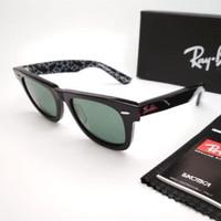 Kacamata Rb Wayfarer motif tulisan hitam lensa kaca Kacamata Sungless