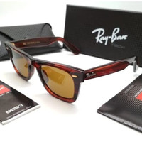 Kacamata Rb Wayfarer II B&L coklat glossy lensa kaca LIMITED
