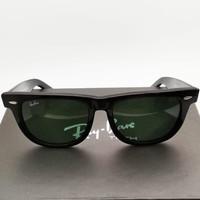 Kacamata Rb Wayfarer hitam doff lensa kaca besar size 54 Kacamata