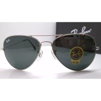 Kacamata Rb Aviator 3026 frame silver lensa kaca hitam full set