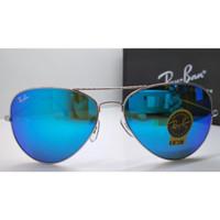 Kacamata Rb Aviator 3026 frame silver lensa kaca biru full set