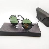 Kacamata Rb 8347 Palang hitam lensa hijau botol - sunglasses