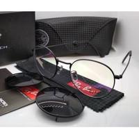 Kacamata Rb clip on 3520 hitam lensa bening & hitam polarized