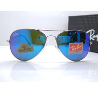 Kacamata Rb Aviator Diamond Hard 3026 silver lensa kaca biru muda