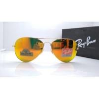 Kacamata Rb Aviator Diamond Hard 3026 gold lensa kaca fire Kacamata
