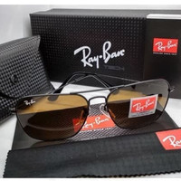 Kacamata Rb Caravan 3136 frame hitam lensa kaca coklat full set