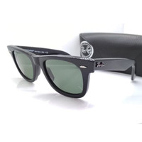 Kacamata Rb Wayfarer 2140 hitam glossy lensa kaca full set Kacamata
