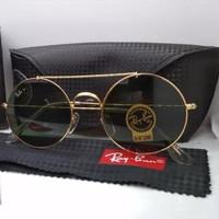 Kacamata Rb 8347 palang frame bulat gold lensa kaca hijau botol