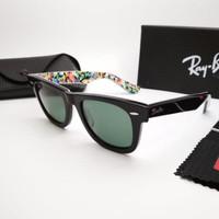 Kacamata Rb Wayfarer 2140 hitam glossy motif piramid lensa kaca