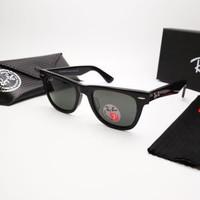 Kacamata Rb Wayfarer hitam glossy lensa kaca polarized Kacamata