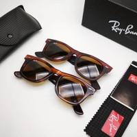 Kacamata Rb Wayfarer 2140 coklat doff lensa kaca full set Kacamata