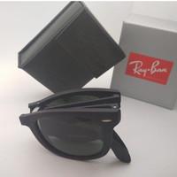 Kacamata Rb Wayfarer Folding hitam doff lensa kaca full set