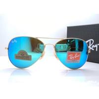 Kacamata Rb Aviator Diamond Hard 3026 gold lensa kaca biru muda