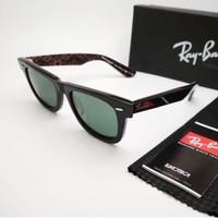 Kacamata Rb Wayfarer motif tulisan coklat lensa kaca - sunglasses