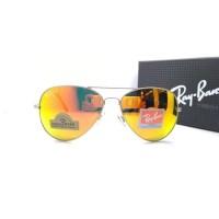 Kacamata Rb Aviator Diamond Hard 3026 frame silver lensa kaca fire