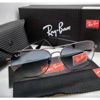 Kacamata Rb Caravan 3136 frame silver lensa kaca hitam full set