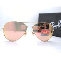 Kacamata Rb Aviator Flash 3026 frame gold lensa kaca pink Kacamata