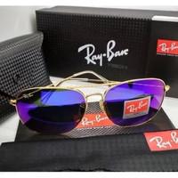 Kacamata Rb Caravan 3136 frame gold lensa kaca ungu full set