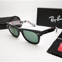 Kacamata Rb Wayfarer hitam glossy motif kota london lensa kaca